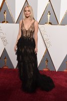 Wholesale Annual Academy - Jennifer Lawrence Oscar Dresses 2016 88th Annual Academy Awards Red Carpet Celebrity Gowns Sheer Black Lace Tired Skirt with Boned Corset