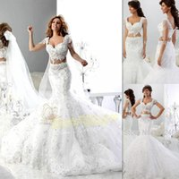Wholesale Unique Modern - 2 Pieces Wedding Dresses 2016 White Lace Cap Sleeves Beaded Sweetheart Two Piece Bridal Gowns Mermaid Trumpet Unique Informal Bride Dress