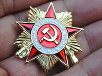 Wholesale Russia Medals - Russia Medal soviet union Badge Emblem Gold Lapel pin Red revolutionary communist party military reproduction LS1
