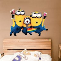 Wholesale Despicable 25 - 25*32cm Removable PVC Wall Decals Despicable Me 2 Cute Yellow Minion Wall Stickers for Kids Rooms