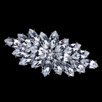Wholesale Diamante Clear Rhinestone - Clear Marquise Acrylic Crystal Diamante Brooch Vintage Silver Tone Free Shipping