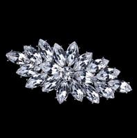 Wholesale Diamante Crystal Brooch - Clear Marquise Acrylic Crystal Diamante Brooch Vintage Silver Tone Free Shipping