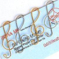 Wholesale Paper Music Notes - FREE SHIPPING Paper Clips bookmark GOLD+SLIVER music note Card Office supply mix order wholesale 300pcs  LOT. 42*16MM