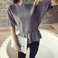 Wholesale Bamboo Batting - Female head short sleeve sweater sweater collar bat sleeve loose solid short sleeved blouses spring