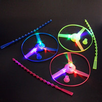 Wholesale light emitting flying toy for sale - Group buy Hand luminous flying saucer bamboo dragonfly flying fairies nostalgic children after the light emitting toys night market sta