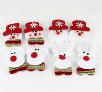 Wholesale Christmas Led Light Brooches - Christmas Led Light Kids Toys Flashing Brooch Santa Snowman Beer Deer 4 Designs Luminous Badge Christmas Party Gifts