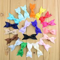 "Wholesale Pinwheel Bows - 3"" Mini Grosgrain Ribbon Hair Bows Pinwheel Cheer Bows for Kids Grament Accessories Headband 100pcs lot Free Shipping"