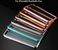 Wholesale Chrome Iphone Bumpers - New electroplating bumper clear back cover cases for iphone6 6s plus Chrome Bumper Transparent Clear Soft TPU Gel Case Cover Electroplate