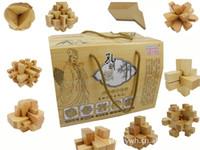 yapboz luban toptan satış-DIY Luban Kongming Ahşap Kilit Eğitim Montaj Bulmaca Oyuncak hediye kutusu ile 10 adet set Ücretsiz gemi