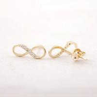 Wholesale Earring Infinity - Fashion Zircon infinity symbol stud earrings wholesale free shipping Classic stud earrings Women's earrings gold silver plated