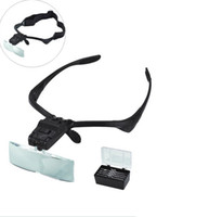 Wholesale Glass Headband Magnifier - NO.9892B High Quality Supporting Glasses Magnifier With 2xLED Lamp and Headband (Black)