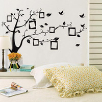 Wholesale Korean Wallpaper Wholesale - 3D Wall Sticker Black Art Photo Frame Memory Tree Wall Stickers Home Decor Family Tree Wall Decal Removable Wallpaper mayitr