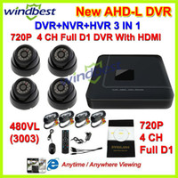 Wholesale H 264 Full D1 - HDMI 4CH Full AHDL D1 H.264 DVR Kit Nightvision Security 480TVL Dome Camera Surveillance Video System DIY CCTV Camera System