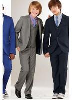 Wholesale Charcoal Suit Silver Tie - New Arrival Charcoal Boy Suits Tuxedo Notch Lapel Formal Wedding Dress(Jacket+Vest+Pants+Tie)
