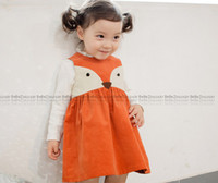 Wholesale Lolita Hot - Baby girls cute fox vest dress children Animal modelling dress Hot sell autumn kids princess dress children clohthes A7109