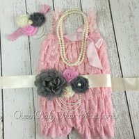 Wholesale Necklace Romper - Pink Petti Lace Romper Matching Baby Headband Flower Sash Necklace Baby Girl Outfit Photography Prop 4set lot