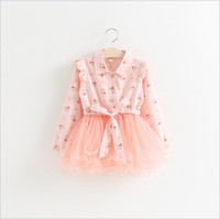 Wholesale Chiffon Long Floral Skirt - 2016 Spring New Girls Long Sleeve Dress Kids Floral Printed Stitching Dresses Baby Girl Lace Tulle Tutu Skirt Children Clothing 2-7T