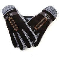 Wholesale Korea Gloves Style - Wholesale-Winter gloves men genuine leather gloves Korea style Men's Pig leather Soft Gloves Men winter mittens