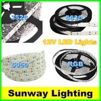 12 volt led streifen weiß großhandel-Hohe helle LED-Streifen 5M 300LED SMD 5630 5050 3528 Flexible LED-Streifenlichter Wasserdichte warme kalte weiße RGB 12 Volt LED-Beleuchtung