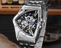relógio de coração prateado venda por atacado-Relógio em forma de coração Relógios Mecânicos Das Mulheres Dos Homens Oco Moda de Luxo Horas Relógio de Prata Pulseiras De Aço Inoxidável Relógio de Pulso Presente