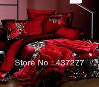 Wholesale Sexy King Comforter Sets - sexy red rose cotton bedding sets for full queen king reversible floral duvet quilt doona cover sheets pillowshams comforter set