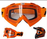 casco gözlükleri toptan satış-KTM Motocross Kask Motosiklet Kapalı Yol Capacete Motor Kasko Koruyucu Dişli Eşleşti KTM MX Gözlük