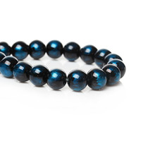 """Wholesale Loose Strands - Glass Loose Beads Round Blue & Black About 10mm Dia,Hole about 1.7mm,75.7cm(29 6 8""""),1 Strand(Approx 82 PCs) 2015 new"""