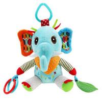 Wholesale Plush Soft Lion - Wholesale- Baby Kids Rattles Hand Bells Cartoon Animals Elephant Lion Teether Infant Soft Plush Doll Mobiles Newborn Educational Toys Giftd