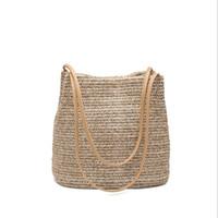 Wholesale woven handbags summer - Summer Women Durable Weave Straw Beach Bag Feminine Linen Woven Bucket Bag Grass Casual Tote Handbags Knitting Rattan Bags