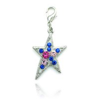 Fashion Silver Plated Lobster Clasp Charms Dangle Colorful Rhinestone Pierced Star DIY encantos para acessórios de jóias