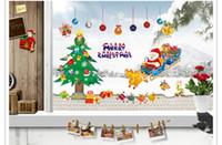 Wholesale Xmas Window Stickers - Merry Christmas Xmas Tree Santa Claus Wall Sticker Home Decoration Window Party Decal Decor DIY Stickers For Kid Nursery Hot
