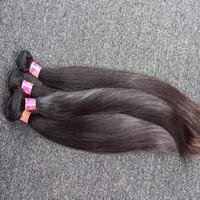 menschenhaar schneiden großhandel-8 ~ 30 Zoll unverarbeitetes indisches Haar spinnt 100% seidiges gerades Menschenhaar-Einschlagfaden 2 Stück-natürliche schwarze Farbhaar-Bündel Freies Verschiffen