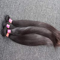 Wholesale free human hair bundles resale online - 8 inch Unprocessed Indian Hair Weaves Silky Straight Human Hair Weft Pieces Natural Black Color Hair Bundles