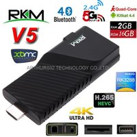 Wholesale Quad 2g Tv Dongle - RKM V5 Android 4.4 RK3288 Quad Core Smart TV Box Dongle XBMC 2G 16G 4K*2K Miracast DLNA Bluetooth 4.0 2.4 5GHz Dual Band Wifi OTG Mini PC