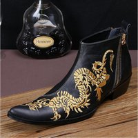 Wholesale Plus Size Dresses Boots - 2016 New Fashion Genuine Leather Dragon Embroidered Ankle Boots Mans Pointed Toe Formal Dress Shoes for Men Plus Size 38-46