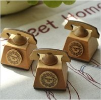 Wholesale Telephones Sets - Wholesale Lovely Telephone Design Wooden Stamp Decoration Stamp with ink pad, 3 Design set 4sets(12pcs) lot Free shipping