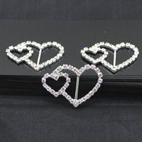 15MM Dia Crystal Buckles Broches Double Heart Clear Silver Plated Rhinestone Convite Ribbon Buckle Chair Slider Wedding Events Supplies