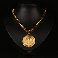 Wholesale Lion Gifts For Men - New Arrival Metal Gold Plated Lion face Round Pendant Charm Long Chain Necklace For Men Women Accessories Fine Hip Hop Jewelry Gift