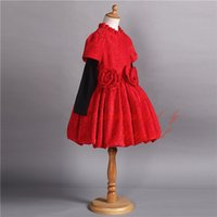 Wholesale hot clothing wear winter resale online - Pettigirl Hot Selling Winter Red Girls Dress Long Sleeve Warm Kids Clothing Wear A Line Fashion Flowers Child Dress GD80930 F