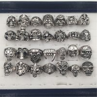 Wholesale Stainless Skull Rings - 100pcs lot Gothic Big Skull Ring Man Imitation Stainless Steel Bohemian Punk Vintage Jewelry 2015 Religion Statement Rings for Men size 7-12