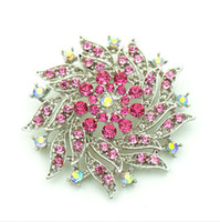 2.4 pouces Vintage Look Rhodium Silver Tone Hot Pink Rhinestone Crystal Flower Brooch