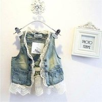 Wholesale Denim Waistcoat Girls - Child Lace Cardigan Summer Sleeveless Coats Girl Vest Kids Blue Denim Waistcoat Children Outwear Girls Cute Lace Waistcoats C001
