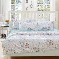 cama queen de marfil al por mayor-Al por mayor-Antique 2015 marca New100% algodón egipcio ropa de cama flores en marfil 4-piezas edredón conjunto housse de couette envío gratis