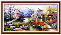 Wholesale new cross stitch kits resale online - New Design Diy Handmade Needlework Cross Stitch Set Embroidery Kit Printed Garden Cottage Design Stitching cm Decoration