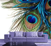 Wholesale Hd Mural - New HD Photo Wallpaper Peacock's feathers Wall Mural Wall Stickers Room background wall MURALS Restaurant Bedroom Kids Room ZHA0096