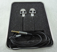Wholesale Unique Ear Wires - 3.5mm Skull Sports Earphone Unique Design Metal Earbuds In-Ear Stereo Cell Phone Earphones For iPhone 6 Plus Samusng HTC LG