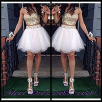 Wholesale Short Sweetheart Ball Dresses - 2 Piece Ball Gown Homecoming Dresses With Gold Beaded Straps Tulle White Short Prom Dress Sweet 16 Gown