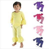 Wholesale Chevron Clothes For Kids - 2016 Children girls ruffle clothing set chevron ruffle shirt + baby zigzag pants undershirt kids pajama set for Autumn baby outfit
