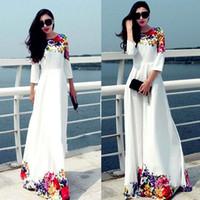 Wholesale Plus Size White Maxi Dress - 2016 Long Women Party Dresses White Floral Print Maxi Boho Beach Dress Plus Size Robe Casual Vestido Longo Ropa Mujer OXL15091402