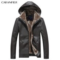 Wholesale Rider Style Jacket - Wholesale- CARANFIER Men Fashion Leather Jacket Hat Detachable Slim Thick WInter Male Motorcycle Rider Businessmen Style M~3XL